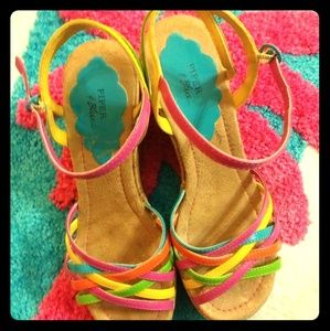 Piper and Blue Tawana Tri-colored Weave Sandals